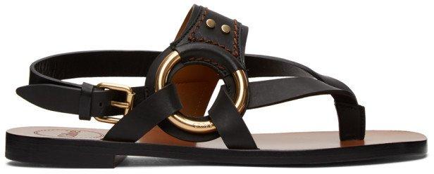Black Demi Flat Sandals