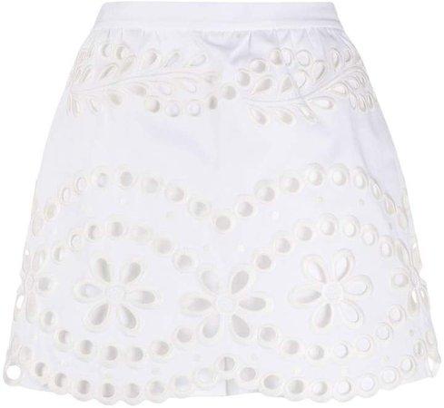 Scalloped Hem Embroidered Shorts