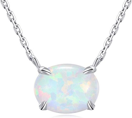Small Oval Opal Gemstone Necklace