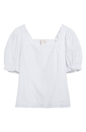 Rachel Parcell Puff Sleeve Eyelet Top (Nordstorm Exclusive) | Nordstrom
