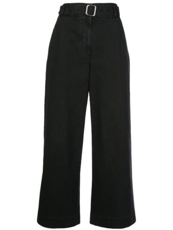 black Proenza Schouler White Label belted cropped trousers