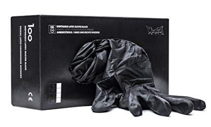 Montana Cans MXG226953 Disposable Black Latex, Medium, Box/100 Gloves