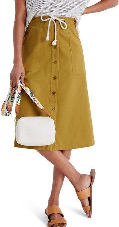 Tie Waist Utility Midi Skirt