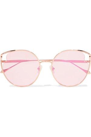 For Art's Sake | Cat-eye rose gold-tone sunglasses | NET-A-PORTER.COM