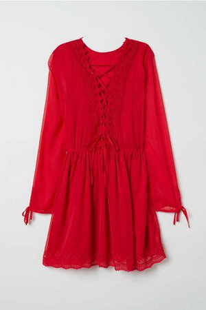 Chiffon Dress with Lace - Red - Ladies | H&M US