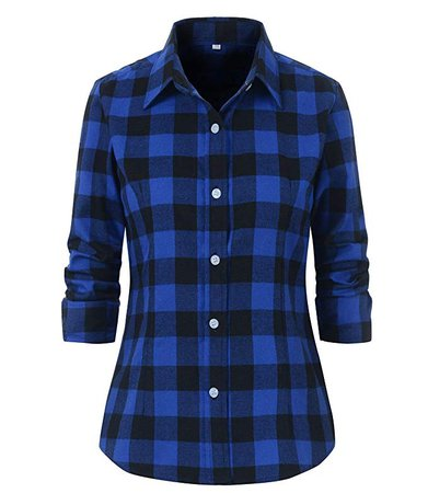 Beninos Women's Check Flannel Plaid Shirt (US Size L/Tag Asia XXXL, Blue) at Amazon Women's Clothing store