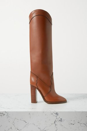 Kate Leather Knee Boots - Tan