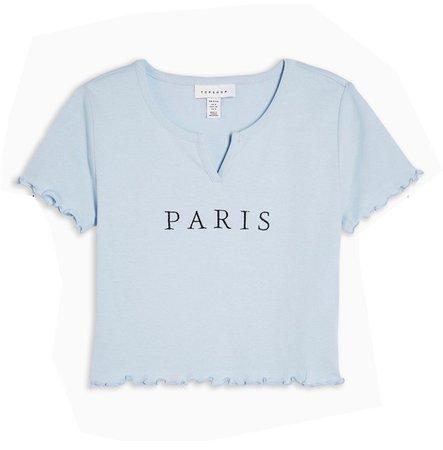 paris sky blue crop top