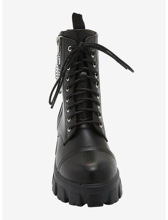 Double Zipper Chain Black Combat Boots