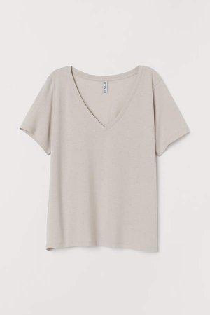 V-neck T-shirt - Brown