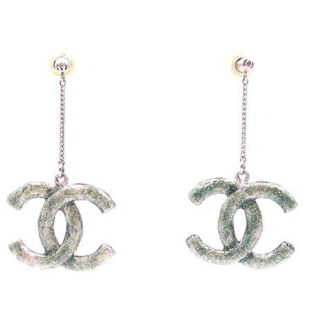 Chanel Green Glitters Cc Silver Dangle Earrings