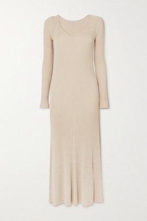 Frerea Ribbed-knit Maxi Dress - Beige