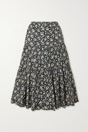 Floral-print Cotton-poplin Midi Skirt - Black