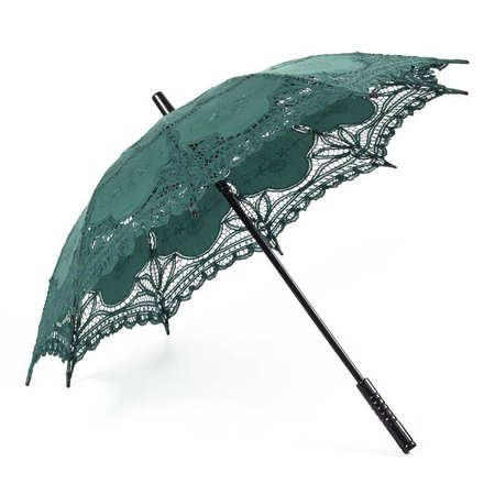 dark green lace parasol