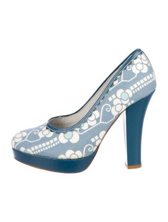 Cacharel Printed Canvas Platform Pumps - Shoes - CAC22811 | The RealReal