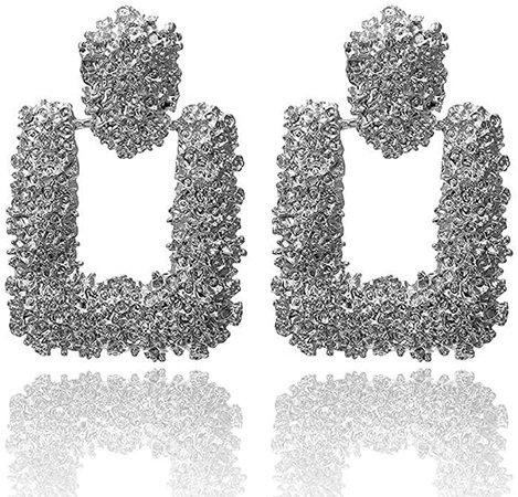 Amazon.com: Statement Drop Earrings Metal Crystal Geometric Earrings Square Dangle Earrings Raised Design Earrings Silver/Gold for Women Girls (Red): Jewelry