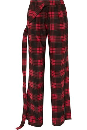 Unravel Project | Checked twill and denim straight-leg pants | NET-A-PORTER.COM