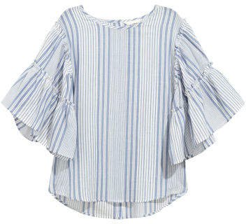 Blouse with Flounced Sleeves - Blue