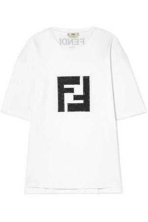 Fendi | Embellished lamé and stretch-cotton jersey T-shirt