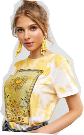 Yellow Tie Dye Of Front Of Model
