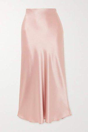 Valletta Satin Midi Skirt - Pink