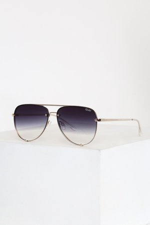 Quay High Key Rimless Black Sunglasses - Silver Sunglasses