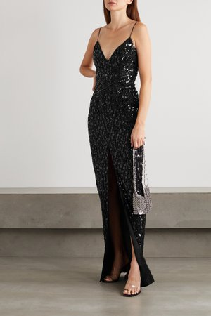 Black Sequin-embellished tulle gown | RASARIO | NET-A-PORTER