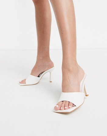 Public Desire Harlow square toe mule sandal in white