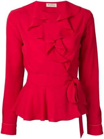 Blanca ruffle-trim belted blouse