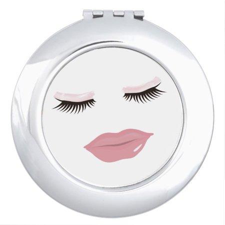 Pretty Pink Lips Round Compact Mirror   Zazzle.com
