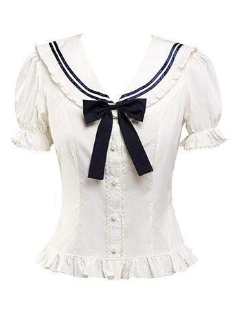 Hugme White Sweet Lolita Blouse Two Detachable Collars(Blue and White) at Amazon Women's Clothing store