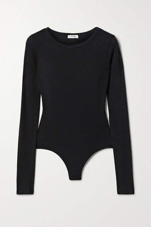 Agolde AGOLDE - Leila Stretch Micro Modal And Supima Cotton-blend Thong Bodysuit - Black