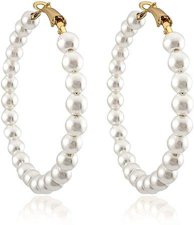 Amazon.com: Pearl Hoop Earrings for Women Fashion Dangle Hypoallergenic Layer Earrings Drop Dangle Earrings Gifts for Women (Pearl hoop): Clothing