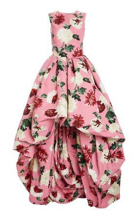 Floral-Print Asymmetric-Hem Crepe Gown By Oscar De La Renta | Moda Operandi