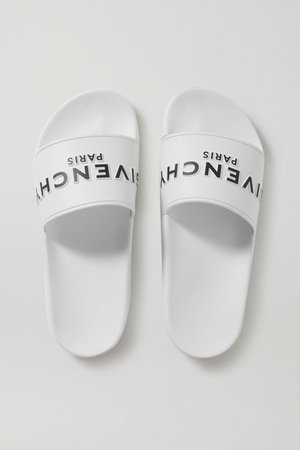 Logo-print Rubber Slides - White