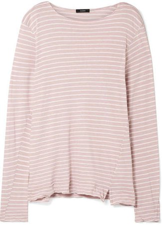 Striped Organic Cotton-jersey Top - Pastel pink