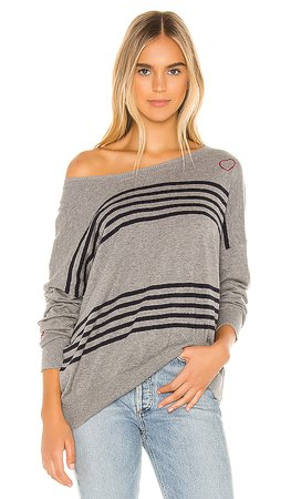 Chaser Hearts Cashmere Blend Sweater in Heather Grey | REVOLVE