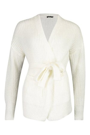 Chunky Marl Knit Belted Cardigan White   Boohoo