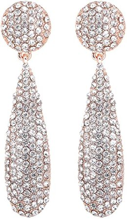 Amazon.com: NLCAC Marquise Dangle Earrings Dual Marquise Chandelier Drop Earrings for Women (tear drop rose gold): Clothing