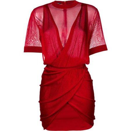 Red Mesh Bodycon Dress
