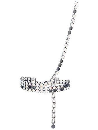 Mm6 Maison Margiela Crystal Choker Stud Necklace S52UU0048S11979 Metallic | Farfetch