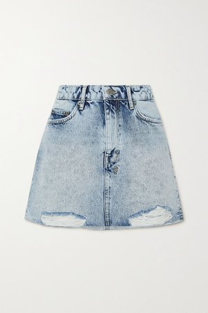 Distressed Acid-wash Denim Mini Skirt - Light denim