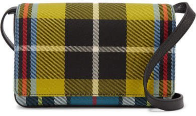 Checked Twill And Textured-leather Shoulder Bag - Yellow