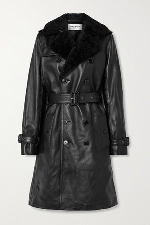 Shearling-trimmed Leather Trench Coat - Black