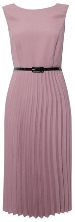 **Luxe Pink Pleated Belted Dress