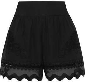 Scalloped Organza-paneled Appliqued Cotton Shorts