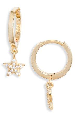 Argento Vivo Sterling Silver Cubic Zirconia Star Pendant Huggie Hoop Earrings | Nordstrom