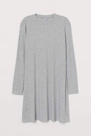 Ribbed Jersey Dress - Gray