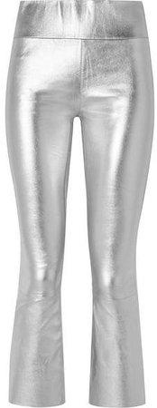 SPRWMN - Cropped Metallic Stretch-leather Leggings - Silver