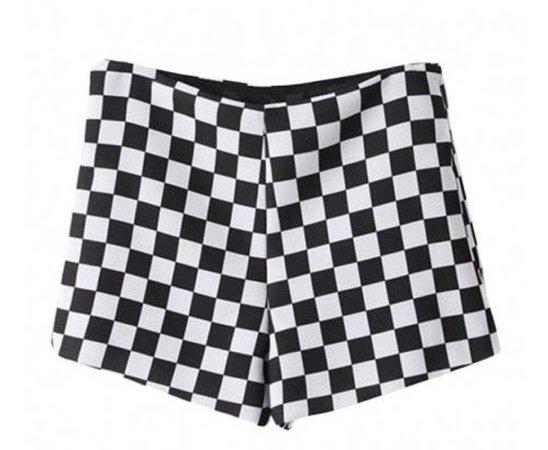 Black White Checkered Mid-rise Shorts
